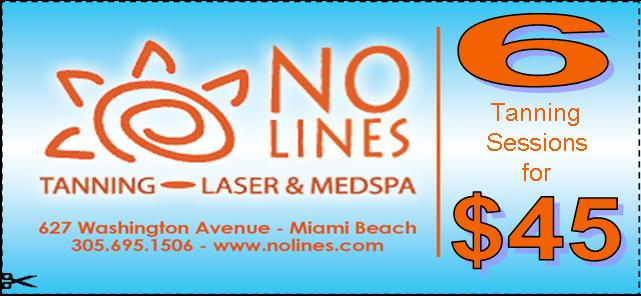 NO Lines $45.00 6 Tanning Session Miami Beach Florida
